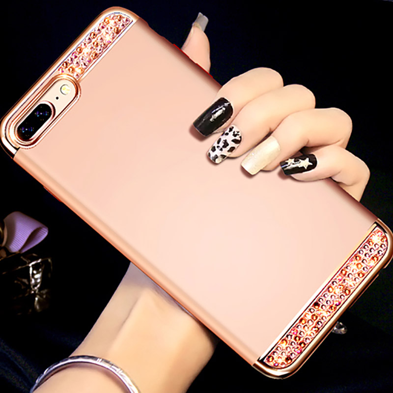 Rose Gold iPhone 8 7 6 And Plus Diamond Metal Protective Cases Covers IPS704_7