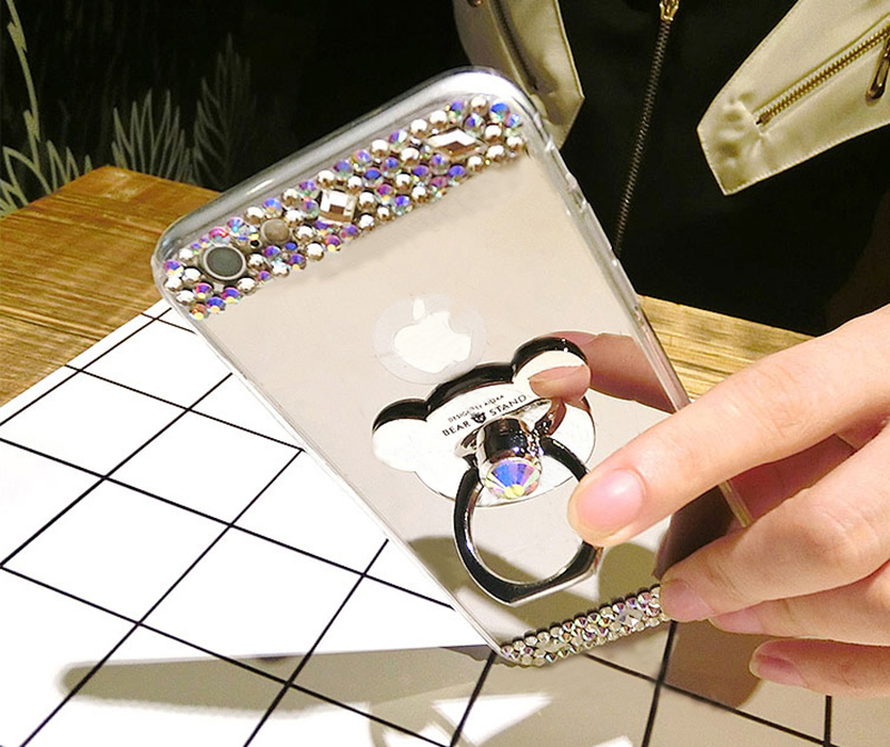 Diamond iPhone 8 7 6 6S SE Plus Cases Covers With Bear Ring IPS711_10
