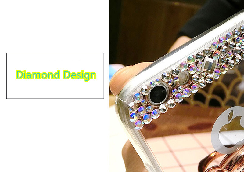 Diamond iPhone 8 7 6 6S SE Plus Cases Covers With Bear Ring IPS711_7