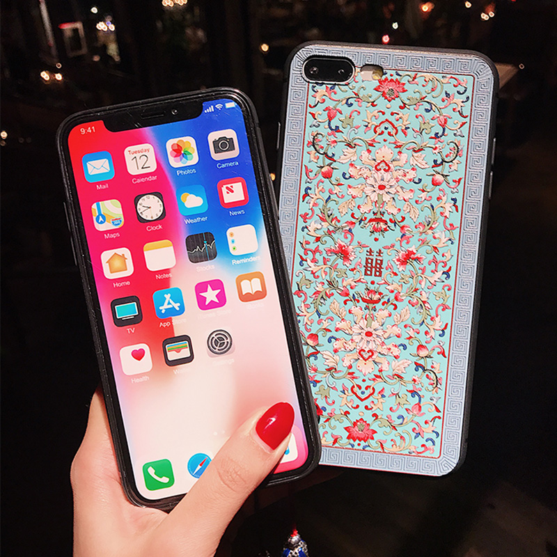 Embossed Pattern iPhone X XS MAX Case With Lanyard IPXSM05_12