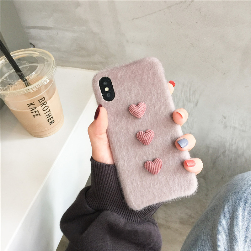 Heart Shape Plush Silicone Cover Case For iPhone XS XR Max IPXSM09_11