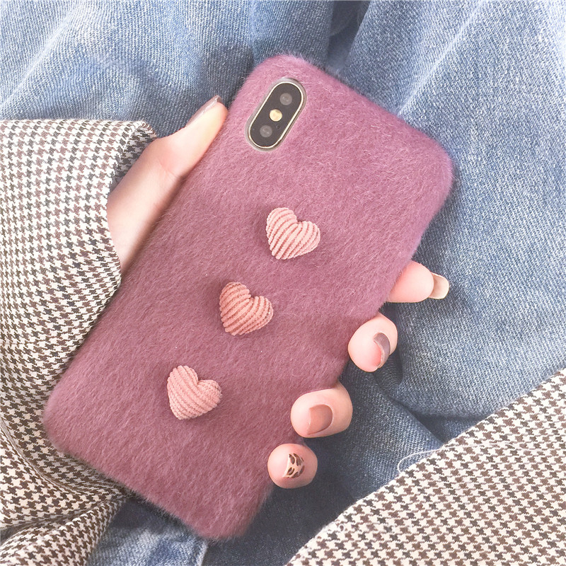 Heart Shape Plush Silicone Cover Case For iPhone XS XR Max IPXSM09_12