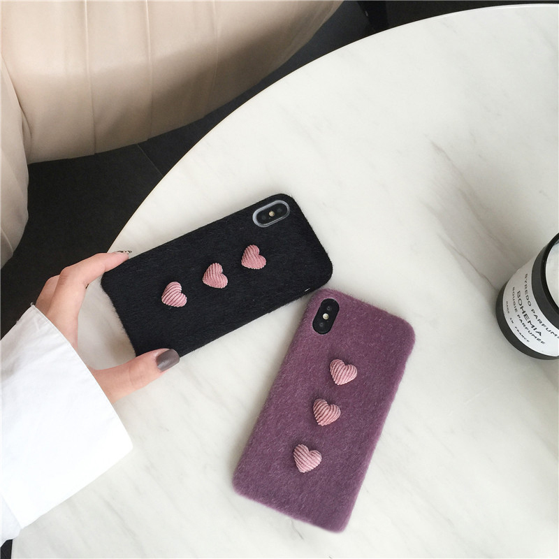 Heart Shape Plush Silicone Cover Case For iPhone XS XR Max IPXSM09_6