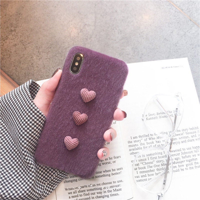 Heart Shape Plush Silicone Cover Case For iPhone XS XR Max IPXSM09_7