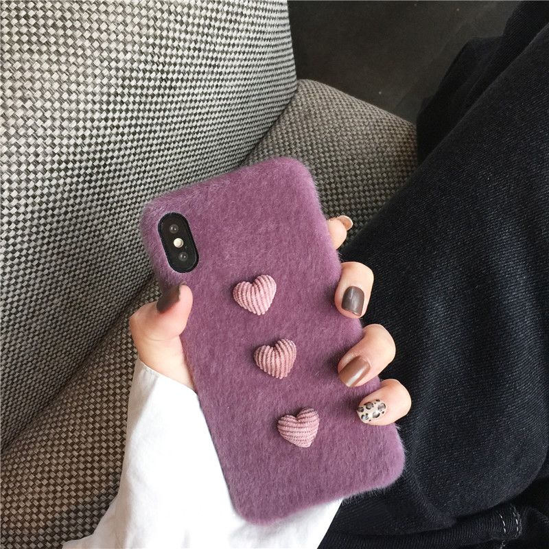 Heart Shape Plush Silicone Cover Case For iPhone XS XR Max IPXSM09_8