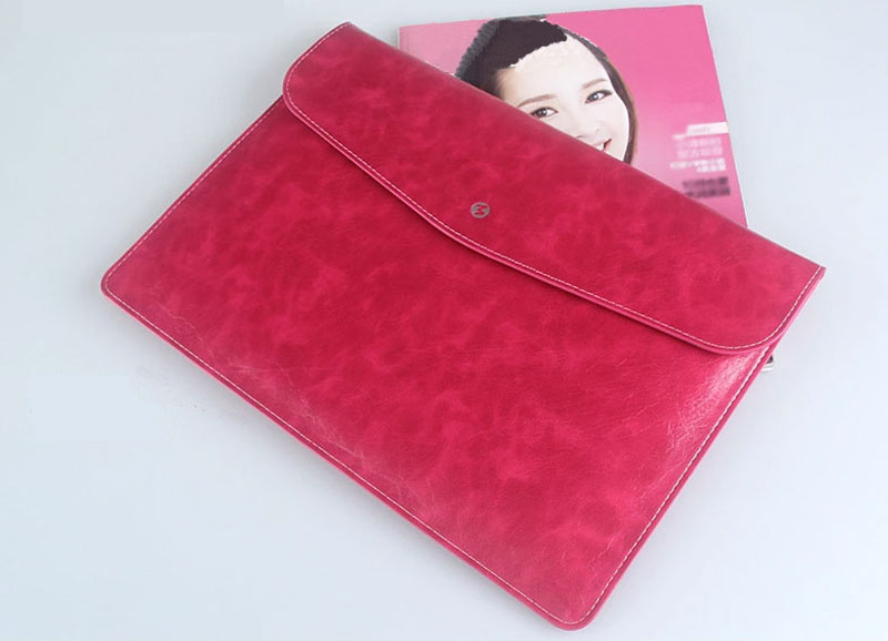 Cool Red Leather Bag Case For 12 Inch Macbook Pro Air 11 13 MB1202_12