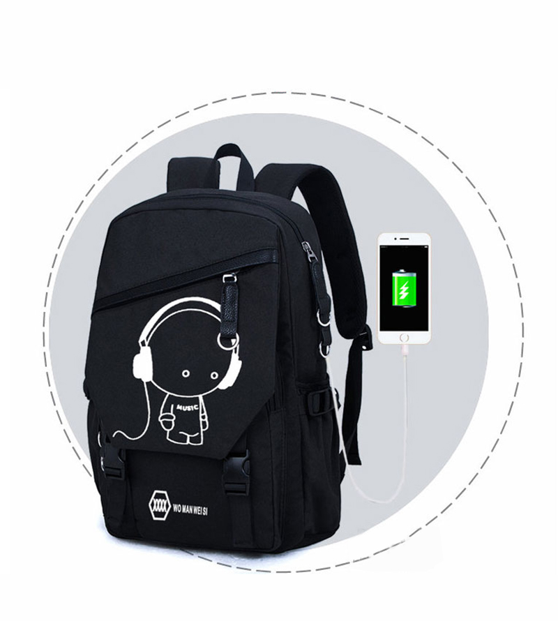 Night Light Pattern With Charge Port Travel Leisure Student Backpack MFB09_7