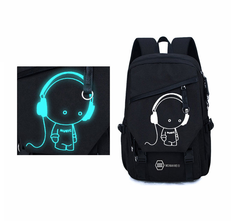 Night Light Pattern With Charge Port Travel Leisure Student Backpack MFB09_9