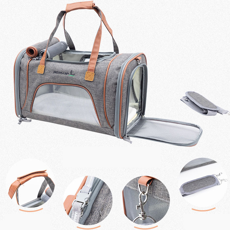 Best Leather Pet Handbag With Large Side Window MFB35_15