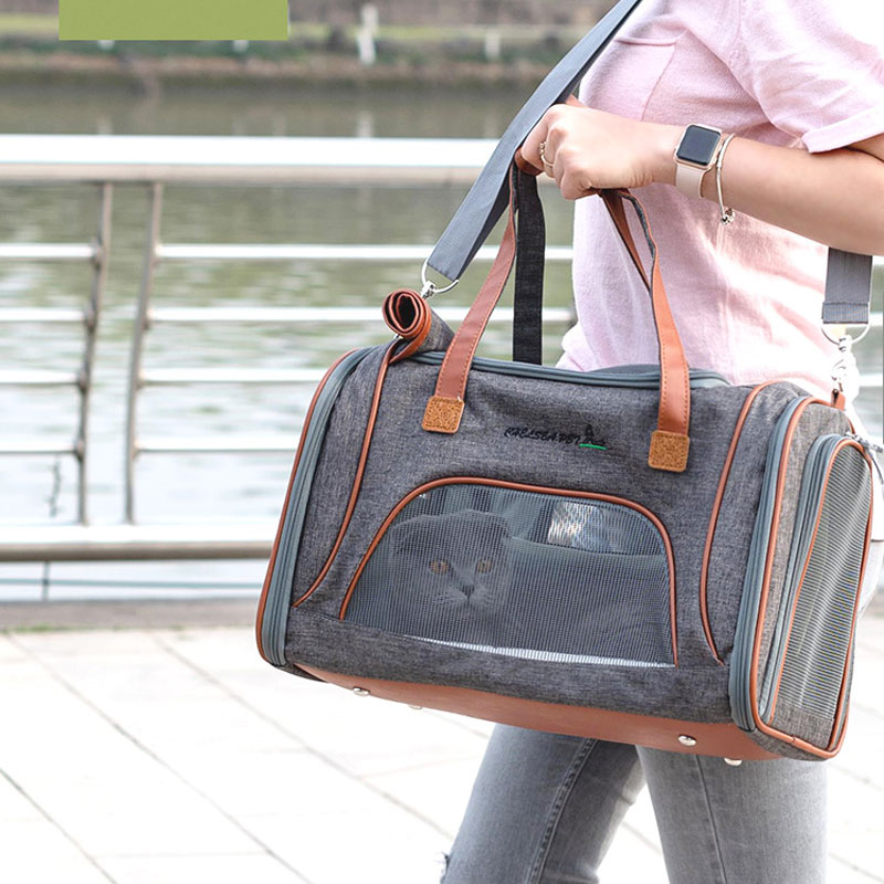 Best Leather Pet Handbag With Large Side Window MFB35_8