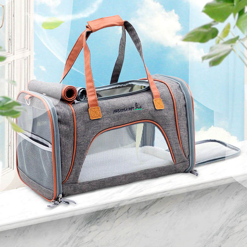 Best Leather Pet Handbag With Large Side Window MFB35_9