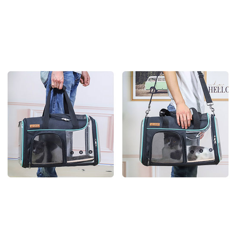 Breathable Leather Pet Handbag With Transparent Side Window MFB53_15