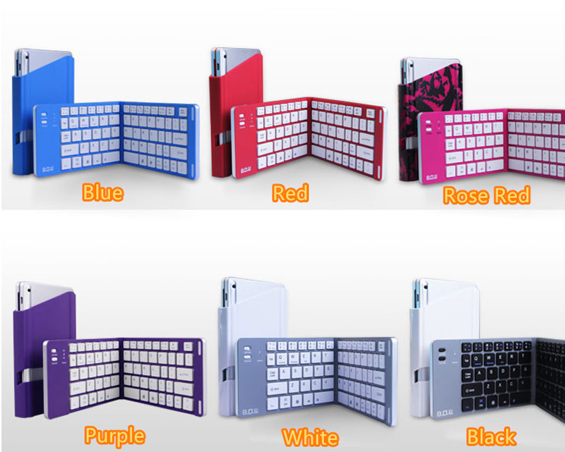 Best Aluminium Alloy Folding iPhone Samsung iPad Air Mini PC Notebook Bluetooth Keyboard PKB02_15