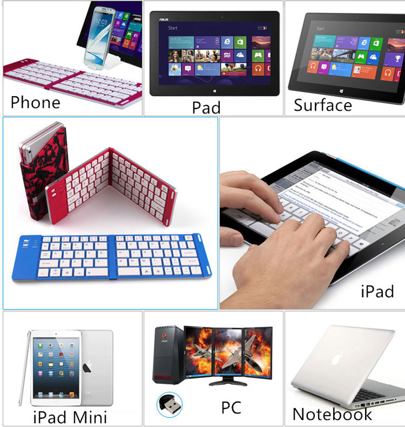 Best Aluminium Alloy Folding iPhone Samsung iPad Air Mini PC Notebook Bluetooth Keyboard PKB02_16