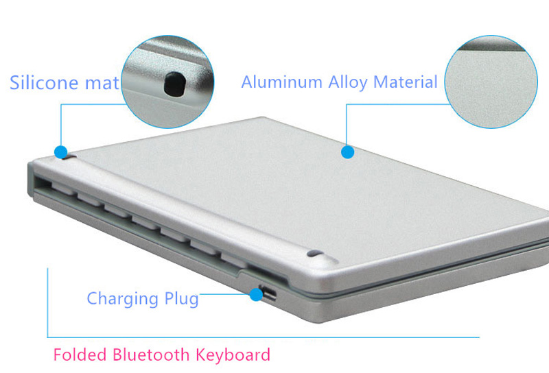Best Aluminium Alloy Folding iPhone Samsung iPad Air Mini PC Notebook Bluetooth Keyboard PKB02_17