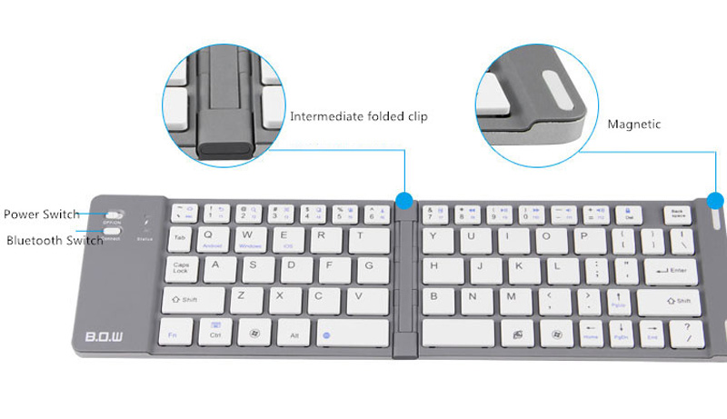 Best Aluminium Alloy Folding iPhone Samsung iPad Air Mini PC Notebook Bluetooth Keyboard PKB02_18