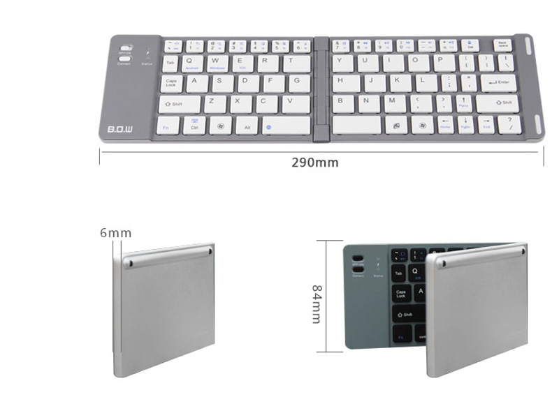 Best Aluminium Alloy Folding iPhone Samsung iPad Air Mini PC Notebook Bluetooth Keyboard PKB02_20