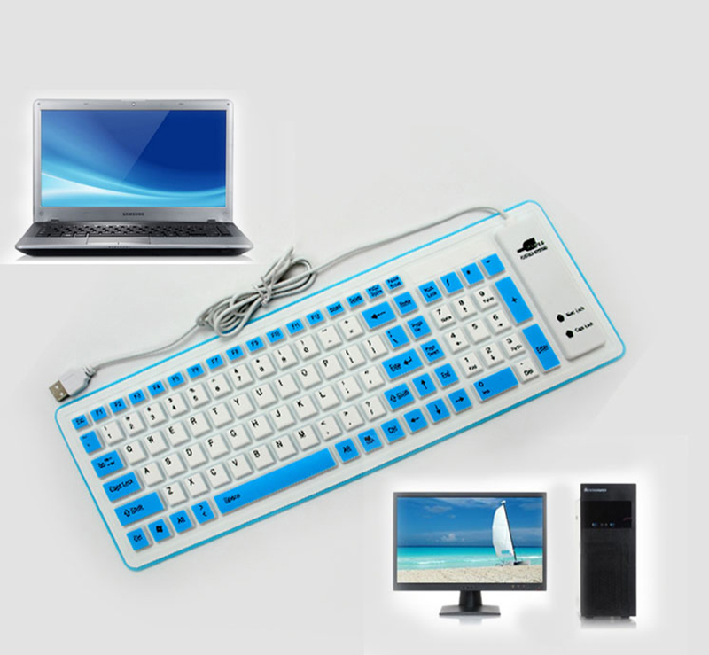 Silicone Portable Folding USB Waterproof Keyboard For Surface Macbook PKB03_13