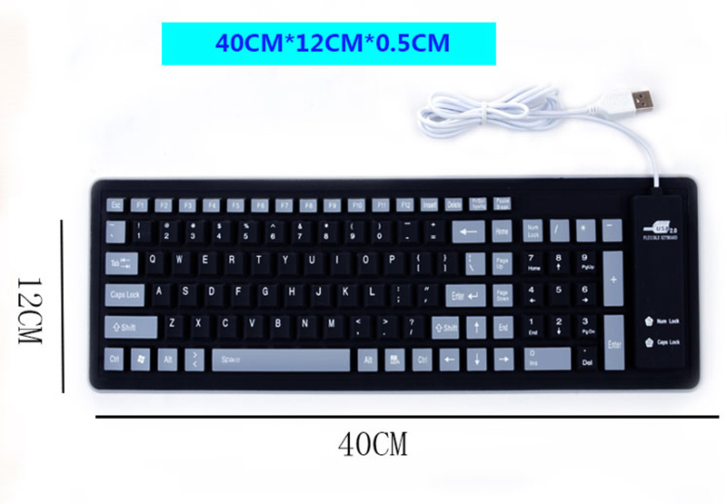 Silicone Portable Folding USB Waterproof Keyboard For Surface Macbook PKB03_9