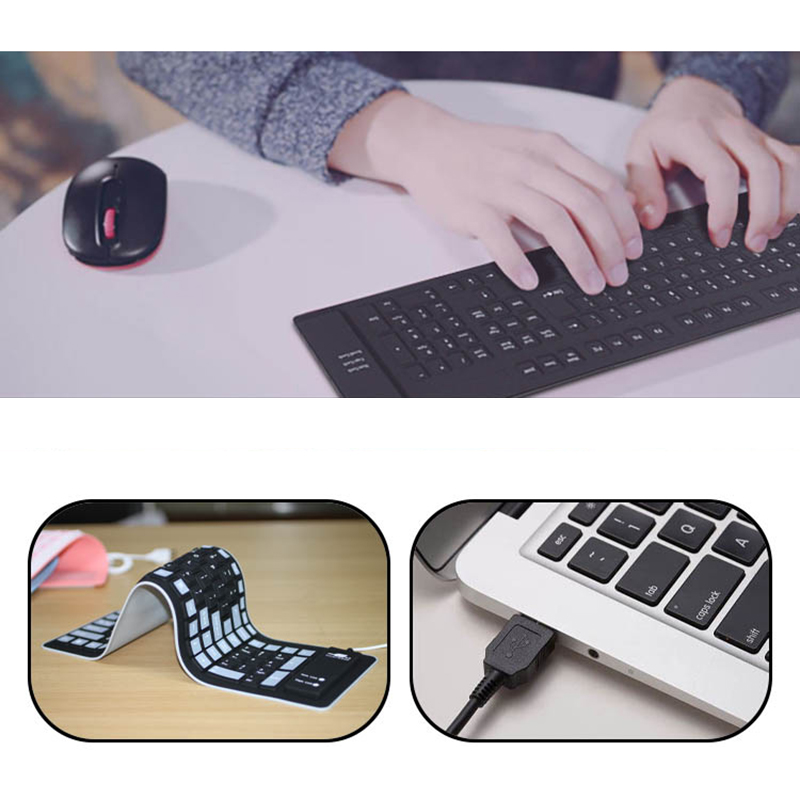 Foldable Silicone USB Keyboard For Surface Book Macbook Air Pro PKB04_9