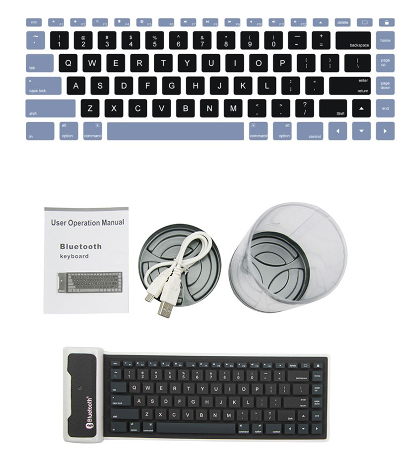 Wireless Bluetooth Foldable Silicone Keyboard For iPad PC Phone PKB05_20