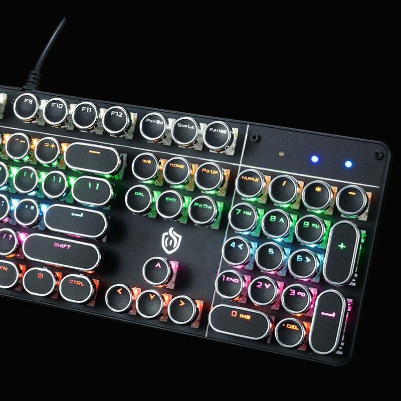 Punk Style Mechanical Keyboard With Retro Typewriter Round Keycap PKB06_8