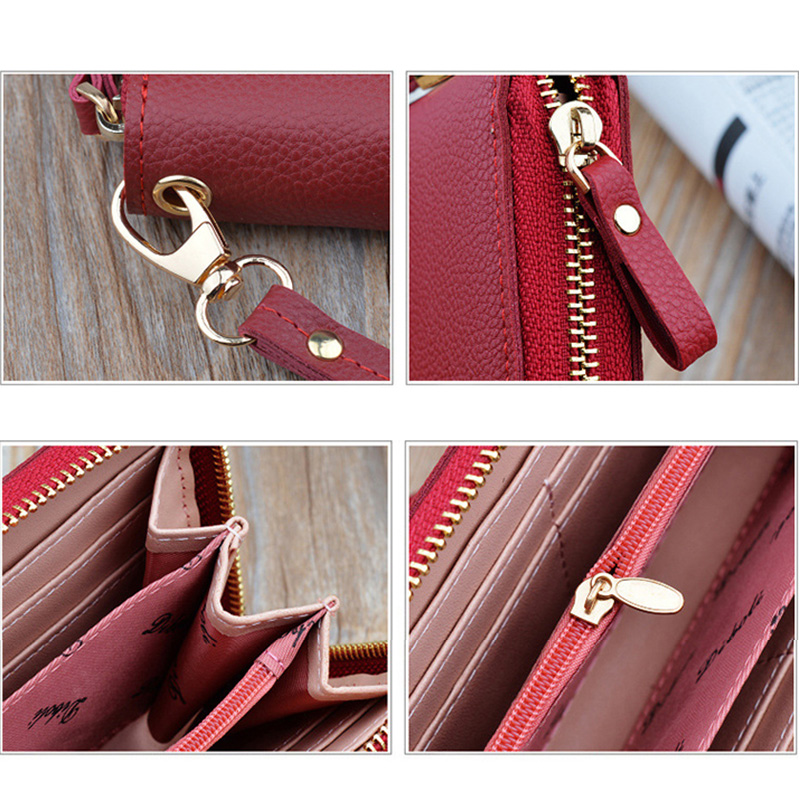 Leather Cell Phone Wallet For Samsung iPhone Smartphone Wallet PW02_7