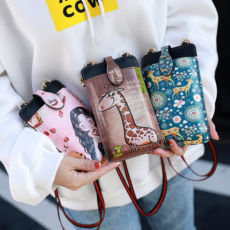 Cute Cartoon Neck Hanging Phone Wallet Bag PW06_13