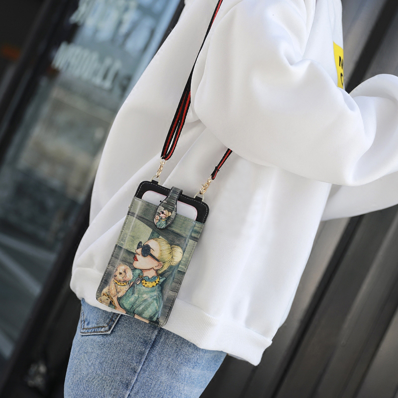 Cute Cartoon Neck Hanging Phone Wallet Bag PW06_8