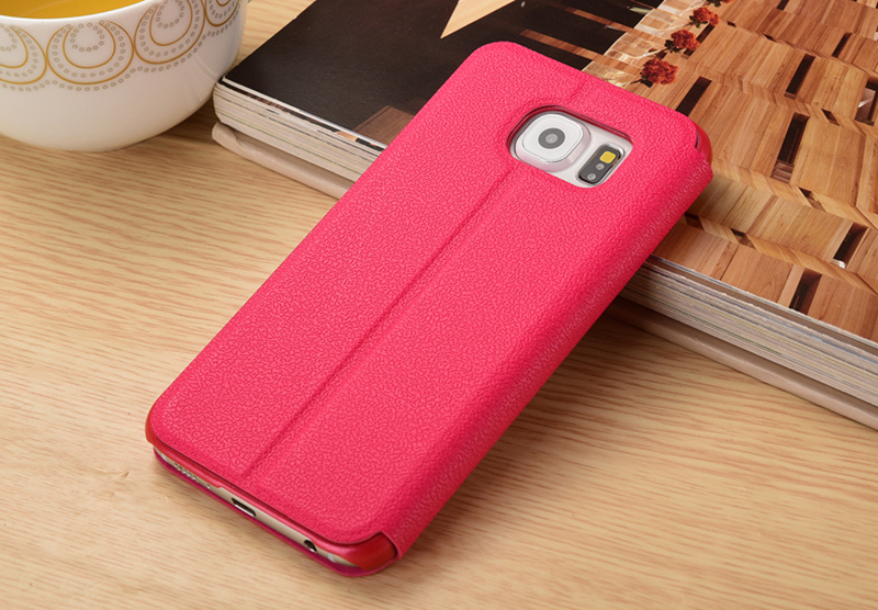 2018 Leather Rose Red Samsung Galaxy S6 Phone Covers Or Cases SG602_21