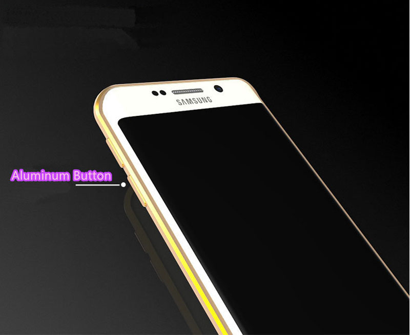 Gold Samsung Galaxy S6 And S6 Edge Plastic Cases Or Covers With Metal Frame SG612_12