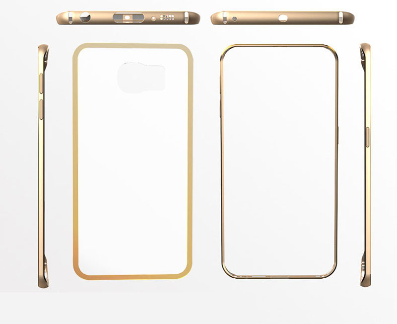 Gold Samsung Galaxy S6 And S6 Edge Plastic Cases Or Covers With Metal Frame SG612_13