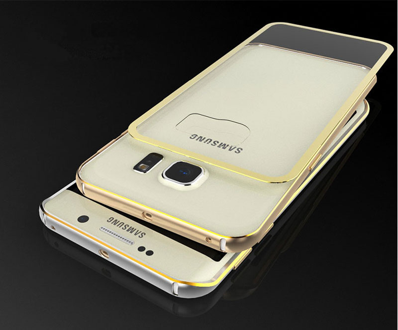 Gold Samsung Galaxy S6 And S6 Edge Plastic Cases Or Covers With Metal Frame SG612_8