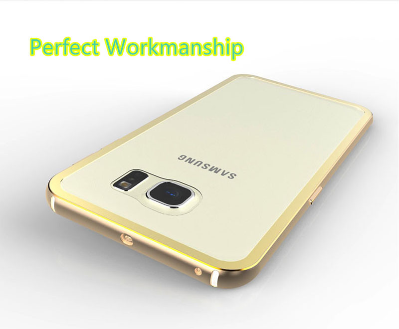 Gold Samsung Galaxy S6 And S6 Edge Plastic Cases Or Covers With Metal Frame SG612_9