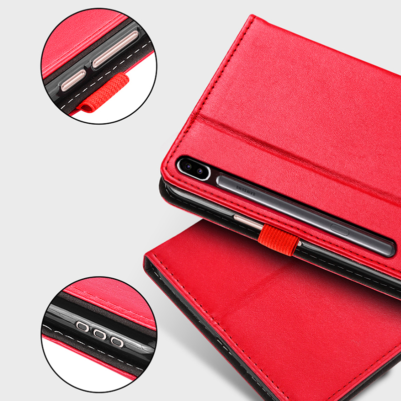 Leather Samsung Galaxy Tab S6 S5 Cover With Pen Cap And Card Slot SGTC09_12