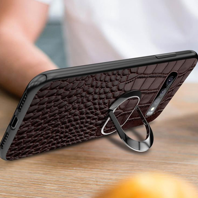 Leather Samsung S10 Plus And Lite Case With Ring Bracket SGX02_8