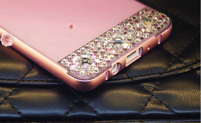 Perfect Pink Samsung Note 3 4 5 S5 S6 Bright Diamond Case With Metal Frame For Girls SNT02_10