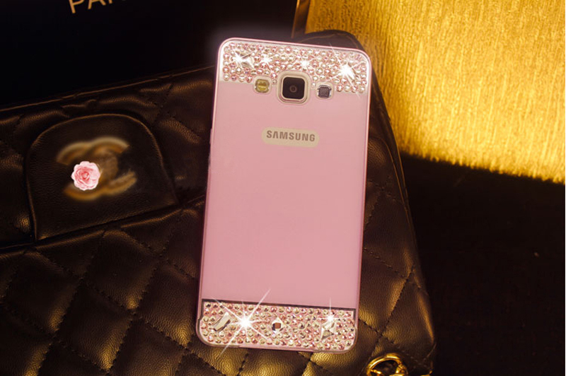 Perfect Pink Samsung Note 3 4 5 S5 S6 Bright Diamond Case With Metal Frame For Girls SNT02_11