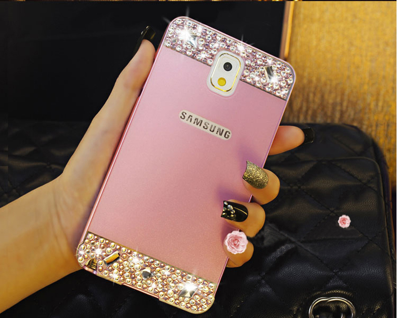 Perfect Pink Samsung Note 3 4 5 S5 S6 Bright Diamond Case With Metal Frame For Girls SNT02_12
