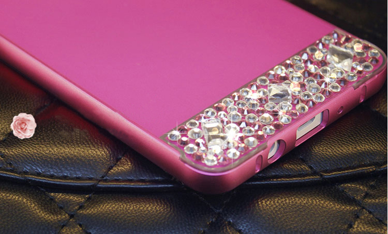 Perfect Pink Samsung Note 3 4 5 S5 S6 Bright Diamond Case With Metal Frame For Girls SNT02_18