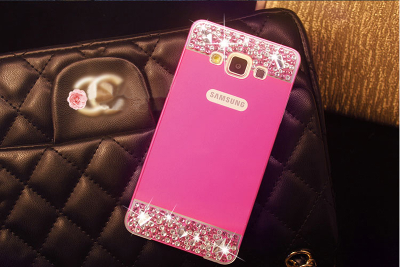Perfect Pink Samsung Note 3 4 5 S5 S6 Bright Diamond Case With Metal Frame For Girls SNT02_19