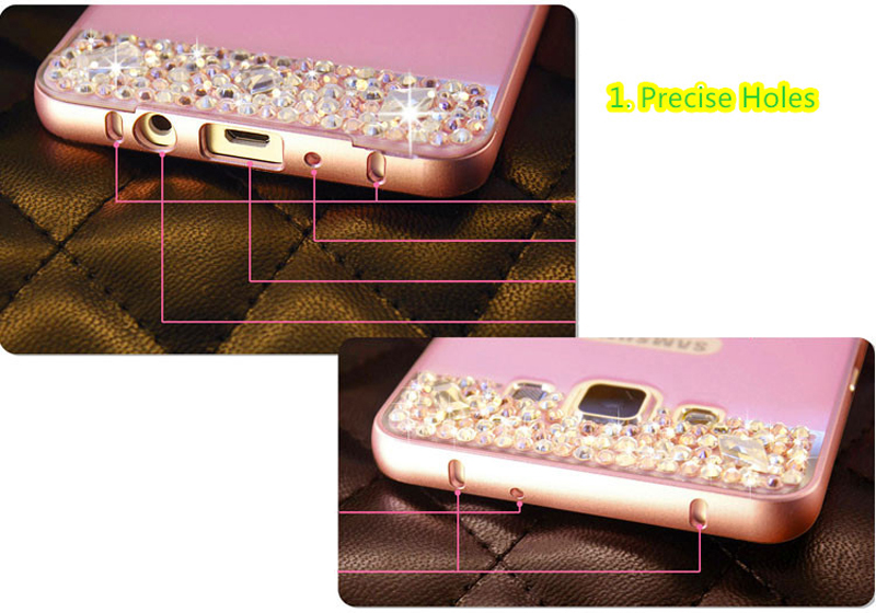 Perfect Pink Samsung Note 3 4 5 S5 S6 Bright Diamond Case With Metal Frame For Girls SNT02_7