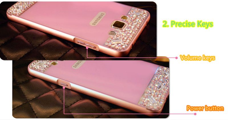 Perfect Pink Samsung Note 3 4 5 S5 S6 Bright Diamond Case With Metal Frame For Girls SNT02_8