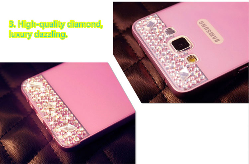 Perfect Pink Samsung Note 3 4 5 S5 S6 Bright Diamond Case With Metal Frame For Girls SNT02_9