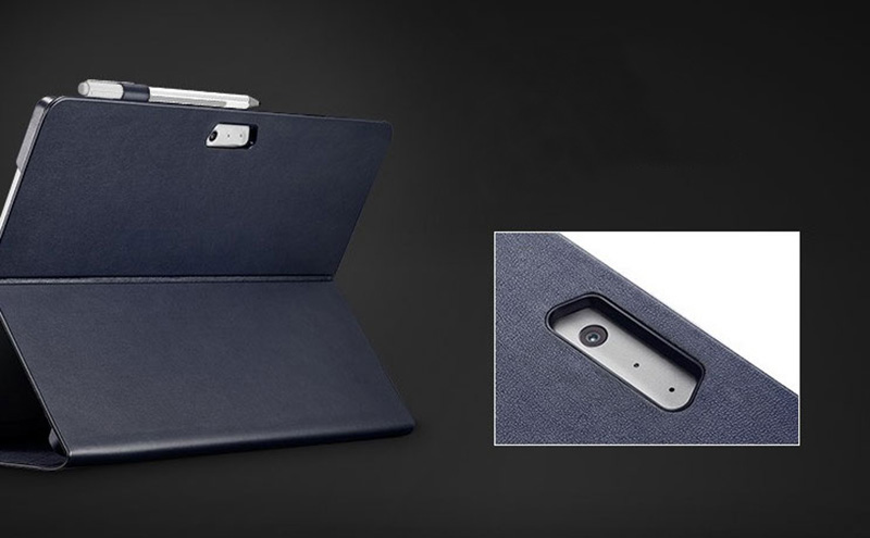 Leather Black Surface Pro 6 5 4 Case Cover With Pen Storage Location SPC05_11
