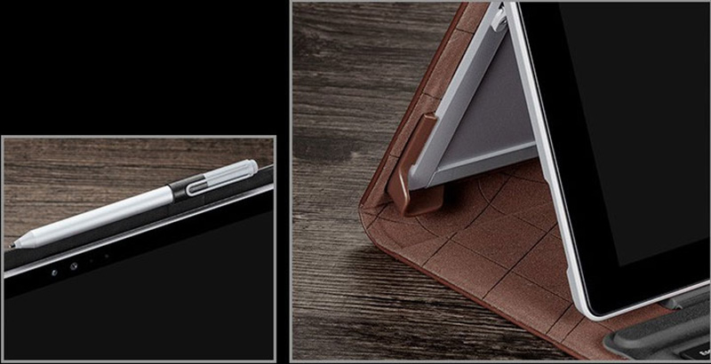 Leather Black Surface Pro 5 4 Case Covers With Pen Storage Location SPC05_13
