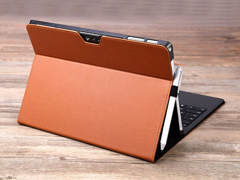Black Leather Surface 3 Pro 3 4 5 6 Leather Cover Case With Pen Cap SPC06_21