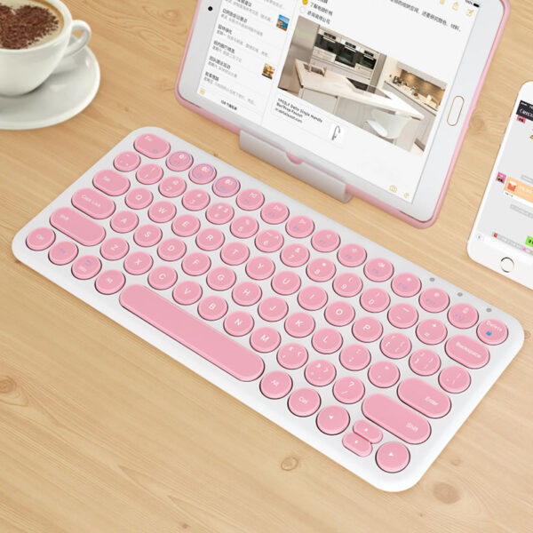 Retro Round Keycap Keyboard For Tablet Phone PC IPK01_3