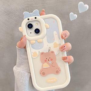 Cartoon Bear Bunny Pattern iPhone 12 11 XS 7 8 SE2 Plus Case IPS502