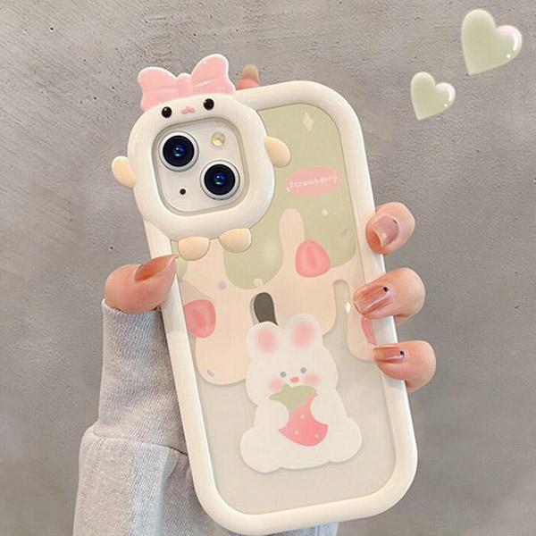 Cartoon Bear Bunny Pattern iPhone 11 XS 7 8 SE2 Plus Case IPS502_2